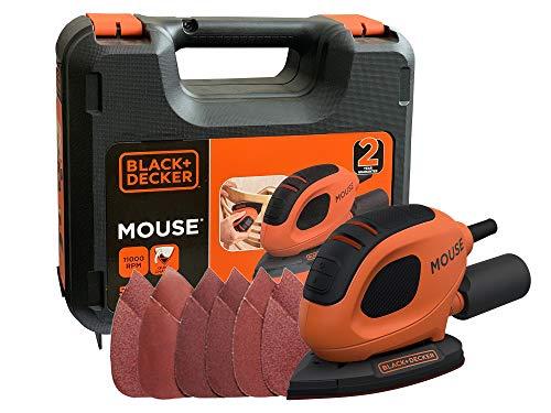 Black+Decker Dreieckschleifer Mouse (55 Watt, 133 x 95 mm, mit Staubsaugeradapter, zum Schleifen/Polieren, Klettfix-System, inkl. 6 Schleifpapiere + 12 Ersatzschleifpapierspitzen, Koffer) BEW230K