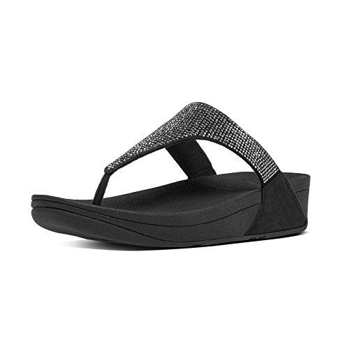 Fitflop Slinky Rokkit Toe-Post, Sandalias con Tiro a T Mujer, Negro (Black), 40 EU