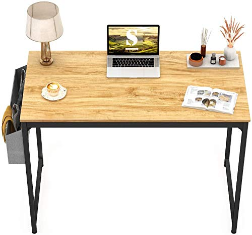 STAR WORK - Computer Desk Study Writing Table with 2 Hooks for Home Office, Modern Simple Style PC Desk, Black Metal Frame Laptop...