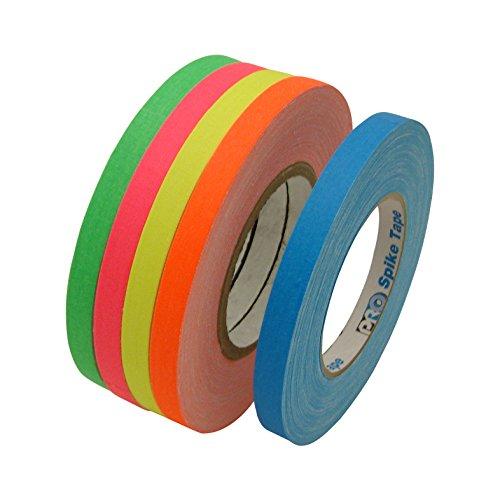 JVCC Gaff-Color-Pack Gaffers Tape Multi-Pack: 1/2 in. width (Fluorescent Blue, Fl. Green, Fl. Orange, Fl. Pink, Fl. Yellow)
