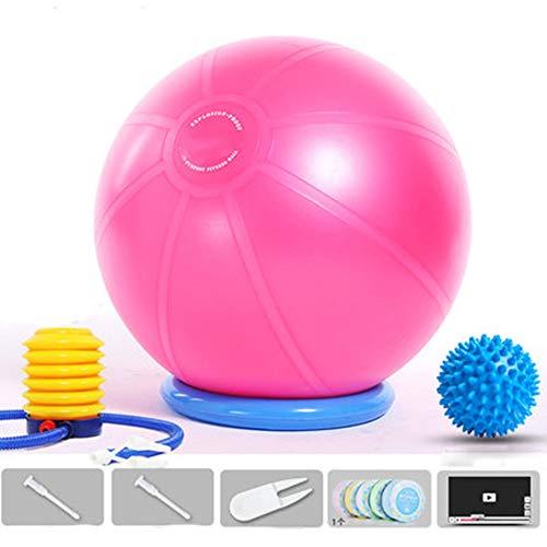 Ballstuhl, Yoga-Ball mit Unterlage für Zuhause und Büro, Ballsitz, flexibler Sitz mit Pumpe, verbessert Balance, Rückenschmerzen, rose, 65 cm