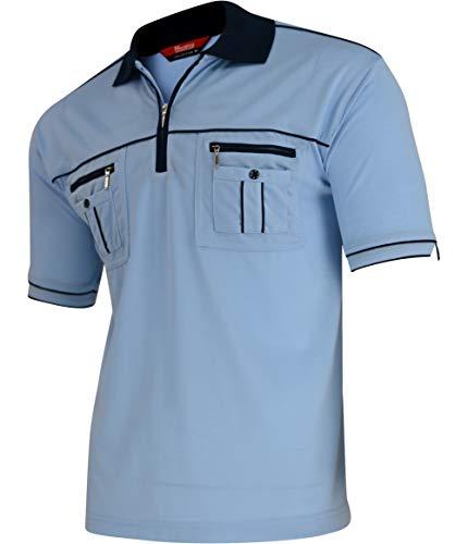 Soltice Herren Poloshirt, Polohemd, Gestreifte Blousonshirt mit Brusttasche aus Baumwoll-Mix, Größe M bis 3XL (3XL, [B] SkyBlue-Kreuz)