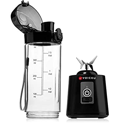 Portable Mini and Personal Size Blender - USB Rechargeable - 14.20 Oz Liquid Capacity and 4000mAh Battery - Travel Single Serve Smoothie Maker - Perfect for Shakes and Smoothies by VOICKU