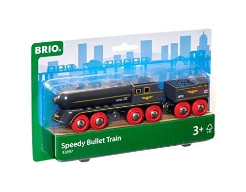 Brio World - 33697 - Train Grande Vitesse - Pour circuit de train en bois - Système d'attache aimantée - Jouet pour garçons et filles à partir de 3 ans