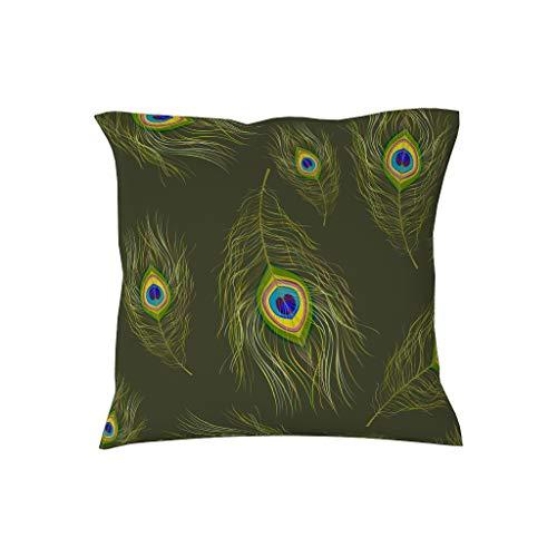 NiTIAN kussensloop kussensloop 18 * 18inch kwaliteit kussenhoezen in polyester pauwenveer patroon voor sierkussens donker zeegroen