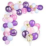 GAGAKU Globos de sirena, cumpleaños infantiles, unicornio, decoración de cumpleaños para niñas, globos multicolor, confeti, cumpleaños, rosa y lila, para fiesta de bebé, boda, decoración