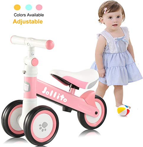 JOLLITO Adjustable Baby Balance Bike for 10-24 Months Girl, Adjustable Handlebars and Seats Toddler Baby Bike, Cute Safe Sturdy Baby Bicycle Riding Toys, Best First Birthday Gifts Pink