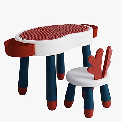 Actividad De Los Niños Conjunto De Mesa De Arte, Carácter De Limpieza Multifuncional Actividad Para Niños Pequeños Conjunto De Muebles Con Caja De Almacenamiento, (Size:1 table and 1 chair,Color:rojo)