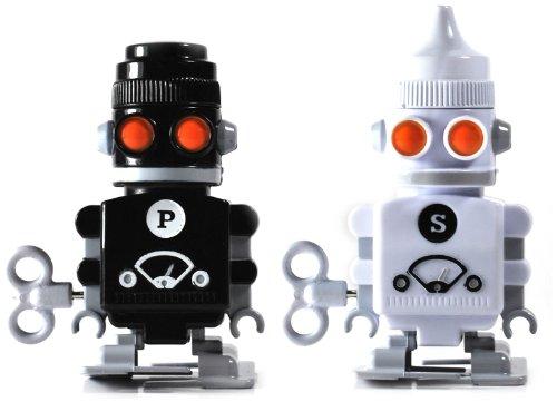 SUCK UK Aufziehroboter Salz- und Pfefferstreuer, Küchengerät, Salzstreuer, Pfefferstreuer, Robote, Aufziehen, Aufziehbare Roboter, Pfeffermühle