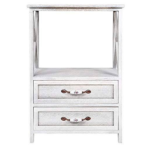 Table Basse Exquise Côté table, Table d'appoint, table de chevet, 2 tiroirs Console Table avec étagère, Salon Hall d'entrée Meubles
