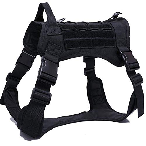 WQ-HUNTING, wasserdichte Militärhundeweste Taktische Hundegeschirr Jacke Nylon Molle Weste Service Hundetraining Kampfweste Hund Jagd Kleidung (Color : Black, Size : M)