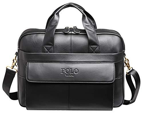 Genuine Leather Briefcase,POLO VIDENG Handmade Briefcases for Men Slim 15' Laptop Case Business Messenger Shoulder Bags (GCP-black)