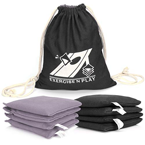 EXERCISE N PLAY Weather Resistant Official Regulation Cornhole Bags(Set of 8) for Bean Bag Toss Games Includes Tote Bag