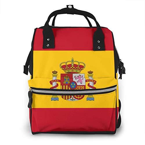 GXGZ Bolso de pañales con bandera española Mochila Impermeable Multifunción Bolsas para cambiar pañales Bolsas de pañales de maternidad Durables de gran capacidad para mamá Papá Viajes Cuidado del beb