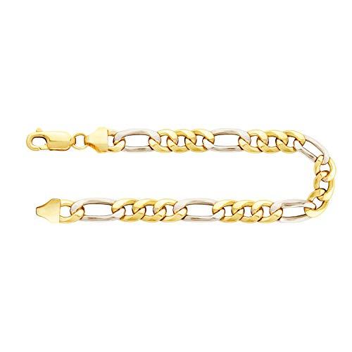 Robustes Herren Armband Bicolor Gold Figarokette hohl 5,7 mm, 585 Echtgold mit Stempel und Karabinerverschluss mit Schlaufe für Männer, Länge 21 cm, Gewicht ca. 5,6 g, Made in Germany