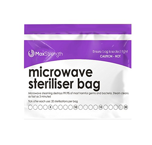 Best Buy! Microwave Sterilizer Bags (30pcs) by Max Strength, Large & Durable Steam Bags for Baby Bot...