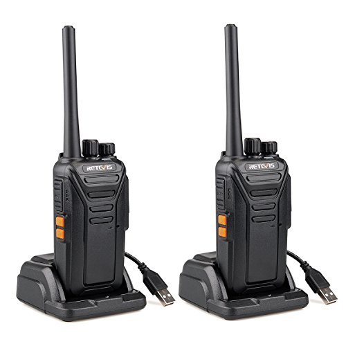 Retevis RT27 Walkie Talkie, Walkies Profesionales, PMR446 sin Licencia, VOX 16 Canals CTCSS/DCS, Walkie Talkie Recargable con Cargador USB, Walkie-talkie Largo Alcance (Negro,1 Par)