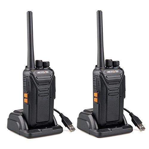 Retevis RT27 Walkie Talkie Portofoons PMR446 Vergunningsvrije 16 Kanalen CTCSS/DCS VOX Oplaadbare Walkie Talkies met USB-laadstation (1 Paar, Zwart)