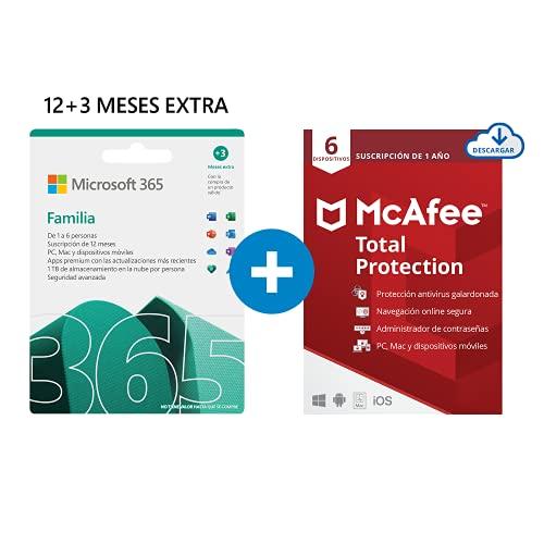 Microsoft 365 Familia   Apps Office 365   PC/MAC/teléfono   Suscripción anual   12+3 Meses   + McAfee Total Protection 2020   6 Dispositivo   12 Meses   PC/Mac/Android/Smartphones -  Código por email