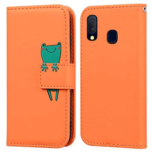 Ailisi Samsung Galaxy A20e Hülle, Karikatur Grün Frog Muster Leder Handyhülle Brieftasche Schutzhülle Leder Flip Hülle Wallet Cover Klapphüllen Tasche Etui mit Kartenfächern+Stand -Frosch, Orange