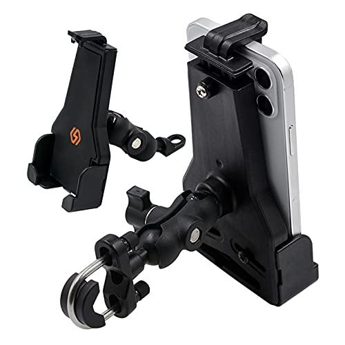Fankr Universal Soporte MóVil Moto, 360° RotacióN Ajustable AleacióN De Aluminio Soporte MóVil Bicicleta, InstalacióN del Manillar Y El Espejo Retrovisor, Apto para Todos Los TeléFonos MóViles