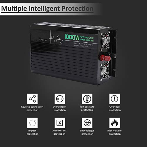 Qukpa 1000W Power Inverter for Car,Pure Sine Wave Power Inverter for Truck with LCD Display and Remote Controller,Car Charger Adapter with 2 AC Outlets and 1 2.1A USB Port,DC 12V to 110V AC Converter