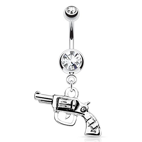 Gun with Clear Gem 14g 316L Stainless Steel Dangle Belly Navel Ring