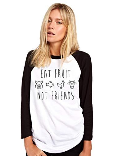 HotScamp Eat Fruit Not Friends - Camiseta vegetariana vegana para mujer béisbol