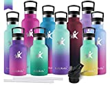 KollyKolla Botella de Agua Acero Inoxidable, Termo Sin BPA Ecológica Reutilizable, Botella Termica con Pajita y Filtro, para Niños & Adultos, Deporte, Oficina (350ml Macaron Verde + Púrpura Oscuro)
