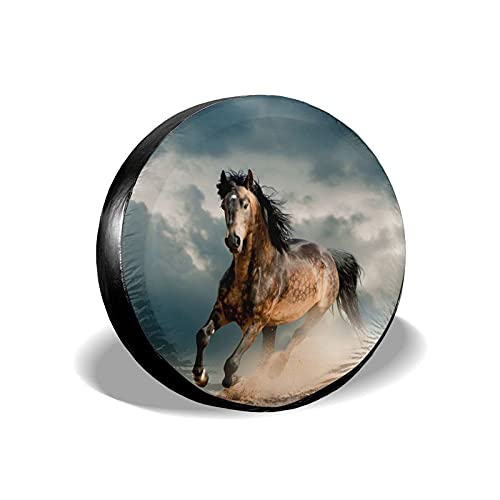 VJSDIUD Cubierta de llanta Spare Tire Cover Running Horse Painting Tire Covers for Camper Trailers RV Car SUV Truck Travel Portable Universal Wheel Tire Protectors Fit 16 Inch Tire Accessories Gifts