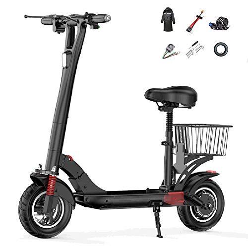WOTR Faltbarer Elektroroller - Elektro Scooter mit Sitz, 500-W-Motor, Max 45 km/h, max Belastung 150kg, bis zu 50-60km Reichweite, LCD-Display E-Roller, Wasserdicht, bequemes schnelles Pendeln