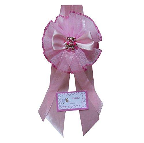 Fiocco Nascita Rosa Tondo con Orsetto Dipinto a Mano