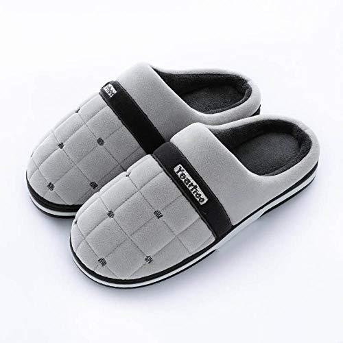Luxe pantoffels schoenen, heren grote maat katoenen pantoffels met dikke zolen, antislip warme binnenschoenen-46-47_gray, ademende indoor outdoor huisschoenen