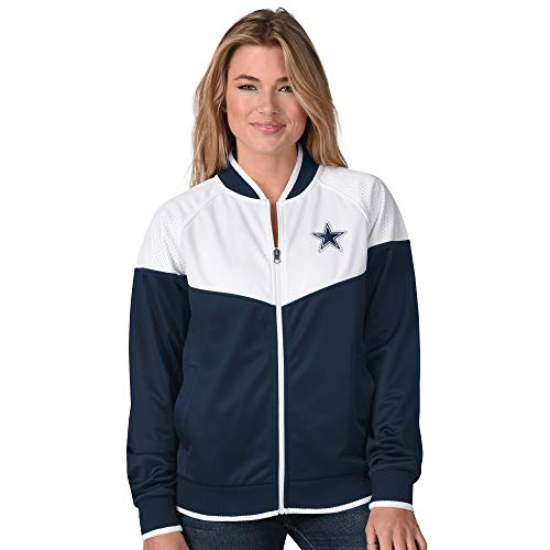 NFL Dallas Cowboys Womens Wildcard Track Jacket, Navy White, X-Large