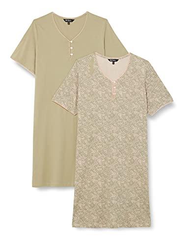 Ulla Popken Big Shirts, 2er, Spitzendruck, OCS Chemise de Nuit, helles Blaugrau, 62+ Femme