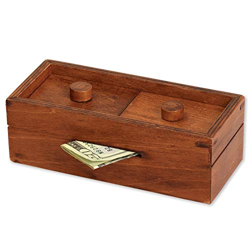 Bits and Pieces - Secret Money Box IV Red Brainteaser - Wooden Puzzle Gift Box - Secret Compartment Brain Game