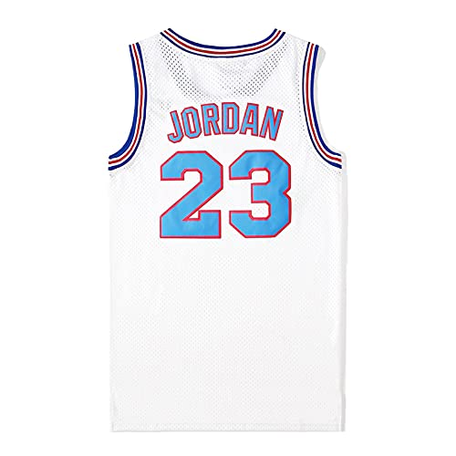 XGYD Camiseta de baloncesto para hombre Jordan #23 Space Movie Jam Jersey, camiseta retro de verano bordada Tops Boy Swingman Baloncesto sin mangas, regalo de cumpleaños blanco