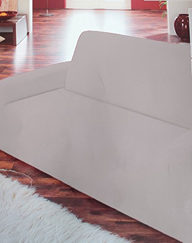 Emanhu Trading Sofa Sessel Spannbezug Sesselbezug Sofabezug Couch Bezug (Creme, 2er Couch Sofa 135x160cm)