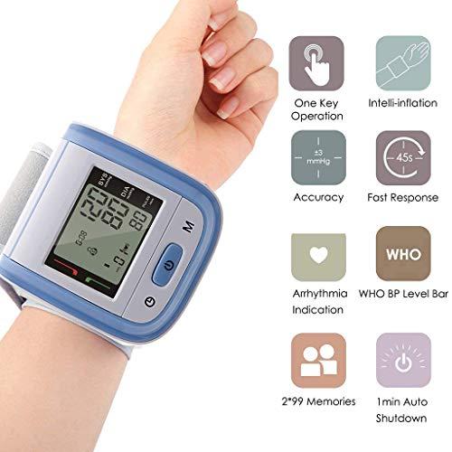 Pols Elektronische Bloeddrukmeter, Digitaal LCD-Scherm Hartslagmeter Met Polsmanchet Nauwkeurige Hartslagmeting Inclusief Batterijen Voor Thuisgebruik
