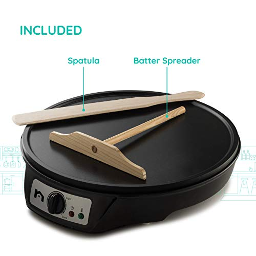 """New House Kitchen Electric Griddle & Crepe Maker w/Precise Temperature Control, 12"""" Non-Stick Grill Pan, Pancake Maker, Used for Omelets, Roti, Blintzes & Eggs, Includes Batter Spreader & Spatula"""