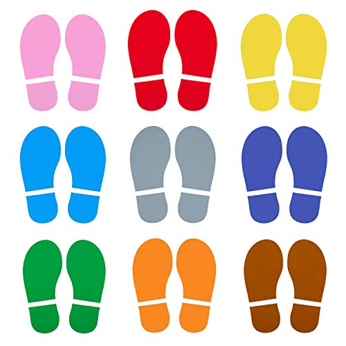 45 Pairs 90 Prints Kids Shoes Decals Footprint Stickers Decals Floor Wall Stairs for Class, Dance Studio, Floor Stickers Party Decoration Celebrate St. Patrick's Day (Mix-Color)