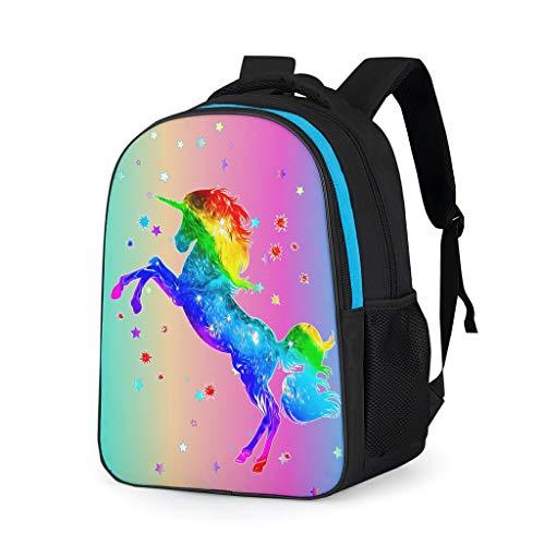 HXshqian Unicorn canvas kinderen schoolrugzak dames heren reisdagrugzak pak voor jongens
