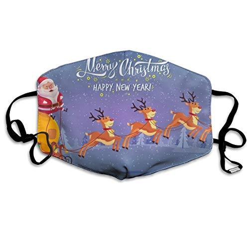 Houity stofdicht wasbaar masker, schattig cartoon kerstman rijden rendier slee vrolijk kerstmis, zacht, ademend, wasbaar, knop verstelbare masker, geschikt voor mannen en vrouwen maskers