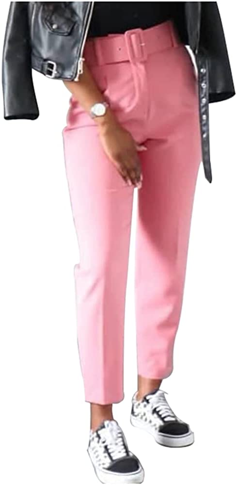 Lghxlxry Women's High Waist Solid Tapered Office Work Ankle Pants Relaxed Fit Cropped Trousers with Pocket