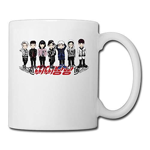 Taza de café de cerámica fresca B-T-S, taza de té | El mejor regalo para hombres, mujeres y niños 13.5 oz, blanco
