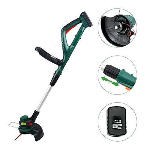 Ayushop Elektrische grastrimmer, snijcirkel, 18 V sterke motor, 2 stuks kunststof messen, telescoopgreep van aluminium, de beste grasmaaier voor tuingazon