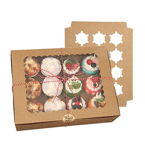 EZOLY 10 pièces Boîtes Cupcakes 12 Trous Boîtes a Gateau carton-32.5x25x9cm Vintage et réutilisable Boîtes Gateau avec Transparente fenêtre pour Cupcakes, pâtisseries, Party Festival(Marron)
