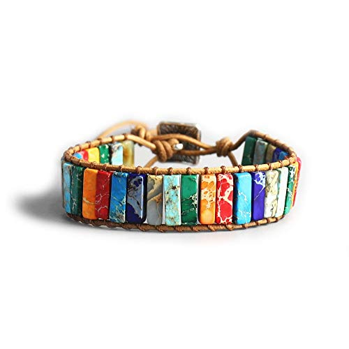 Exinox Chakra-armband, natuurstenen, voor mannen en vrouwen, traditionele Tibetaanse spirituele Boeddhist
