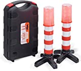 Heliar Early Warning LED Road Flares, Alternative to Roadside Safety Triangle, High Reflective, Far Visible, 2 Pack Kit with Storage Case (Red)