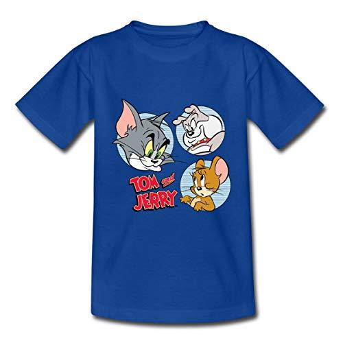 Tom Und Jerry Spike, Tom und Jerry Kacheln Kinder T-Shirt, 122-128, Royalblau